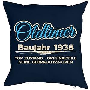 spr che kissen zum 80 geburtstag geschenk idee dekokissen jahrgang 1938 oldtimer baujahr. Black Bedroom Furniture Sets. Home Design Ideas