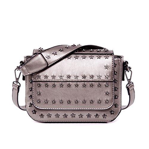 HYLR Borsa della borsa dei sacchetti di spalla della borsa della donna di modo di stile punk di Argento
