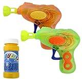 GYD 2er Pack Seifenblasenpistole SEIFENBLASEN PISTOLE mit LED! Seifenblasenmaschine 2 farbig