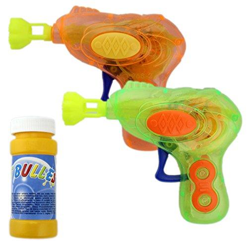 2er Pack Seifenblasenpistole SEIFENBLASEN PISTOLE mit LED! Seifenblasenmaschine 2 farbig GYD