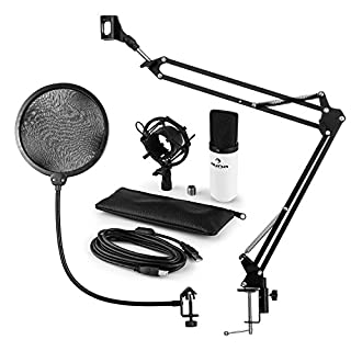 auna Mikrofonset V4 • Heimstudio Set • 3-teilig • MIC-900WH • USB-Kondensatormikrofon • Pop-Schutz • faltbarer Mikrofonarm inkl Mikrofonhalterung • Mikrofonspinne • Plug & Play • 1,5 kg • weiß