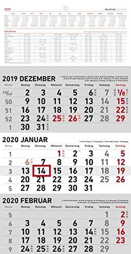 3-Monatskalender klein 2020 - Wandplaner - Bürokalender (23,7 x 45 geöffnet) - mit Datumsschieber - inkl. Jahresübersicht