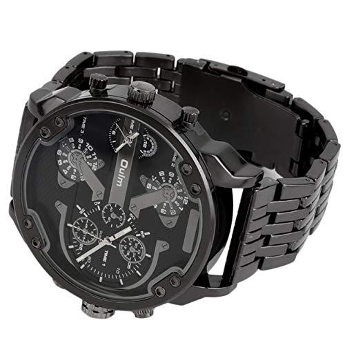 Oulm Herren 2-Bewegung großes Zifferblatt Edelstahl-Bügel-Sport-Armbanduhr 3548