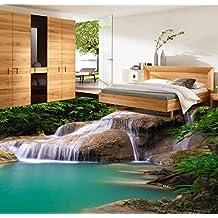 Malilove Hermosa Cascada Romántica Piso 3D Pegatinas Gruesas A Prueba De Humedad, Suelos Baño Dormitorio