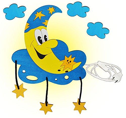 Wandlampe aus Holz - Mond mit 3-D Sterne - Lampe mit Schalter für Kinder - Kinderzimmer Kinderlampe Wandleuchte mit Stecker / Nachtlicht / Schlummerlicht für Jungen Mädchen