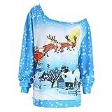 Damen Weihnachtspullover Off Shoulder Langarm Christmas Sweater 3D Blau Drucken Sweatshirt Asymmetrie Freizeit Top