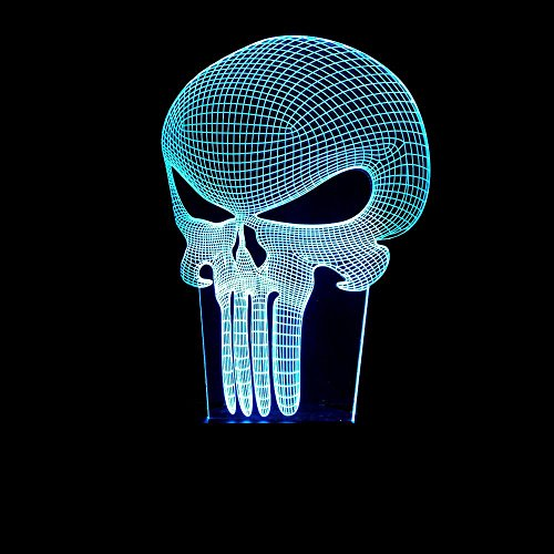 Wmshpeds 3D-LED-Licht Halloween bestrafen lustigen Maske Langknochen Schädel 3D bunten Touch-Schalter Nachtlicht