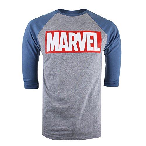 Marvel Logo, Camiseta de Manga Larga para Hombre, Gris (Grey/Blue), XX-Large