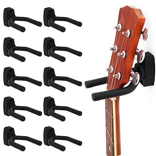10x Gitarrenständer Halterung Wand Rutschfest Gitarre Haken Wandhalter Kleiderbügel Display Ständer für Gitarre Ukulele Bass Mandoline Banjo Schwarz
