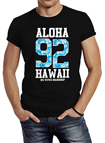 Neverless Herren T-Shirt Aloha Hawaii Summer Palm Leafs Slim Fit Schwarz L (Schwarzes Hawaii-aloha-shirt)