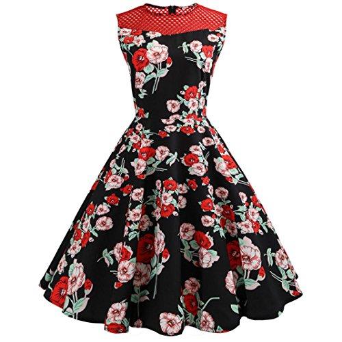 KEERADS Damen Cocktailkleid Vintage 1950er Dot Ärmellos Rockabilly Kleid Basic Festliche Partykleid knielang Abendkleid (44, Rot schwarz) (1950er-jahre-t-shirts)