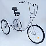 "OUKANING 3 Wheel Bicycle 24"" 6 Speed Adult Trike Tricycle Bicycle Bike Cycling"