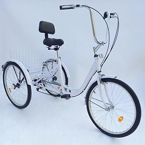 """SENDERPICK 24\""""6 Speed Erwachsener 3 Raddreirad, Erwachsene Fahrrad Radfahren Pedal Bike mit Weißer Korb für Outdoor Sports Shopping Einstellbar (Weiß)"""
