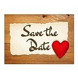 15 x Save the Date Karten mit Umschlag/Herz Rustikal/Hochzeit/Heirat/Feier/Einladung/Verkündung