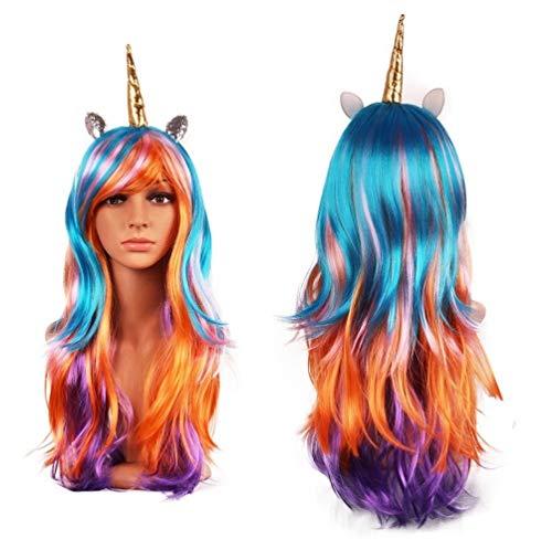 MeMo Toys Luxury Unicorn Horn Headband Hairpiece Rainbow Wig Perfect for Party Decoration or Cosplay Costume (Gold Rainbow) (Einhorn Beanie Baby Kostüm)