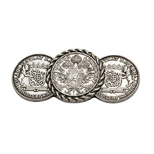 Alpenflüstern Trachten-Blusenbrosche Münzen antik-silber-farben API074