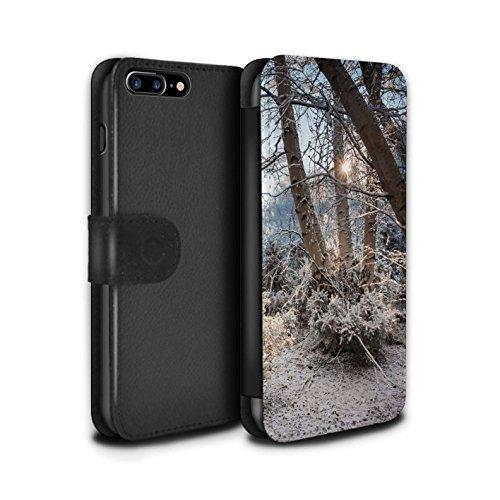 Stuff4 Coque/Etui/Housse Cuir PU Case/Cover pour Apple iPhone 7 Plus / Ciel Gris Design / Hiver Saison Collection Arbres Gelés