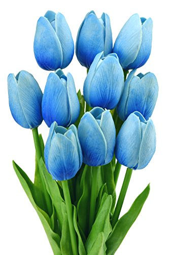 10 Stück Tulpen Gefühlsecht (Real Touch) Künstliche Blumen-Bouquet Dekoration, ideal für die Hochzeit, Braut, Party, Zuhause, Büro Dekor DIY
