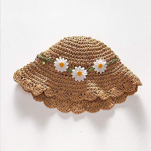 WGYXM Hut, Sonnenschutz Kinder Strohhut Mädchen Sommer Mädchen Strand Hut Neue Coole Hut Prinzessin Sonnenschirm Hut großen Rand, braun B, S