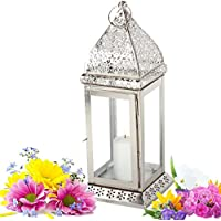 metallo leggero lanterna orto Mula 40cm lanterna appesa candela lanterna (silber)