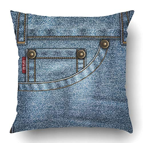 Fray Denim Jeans (Throw Pillow Covers Blue Stitch Denim Jeans Pocket Rivets Stitches Folds Washed Seam Detail Metal Garment Polyester Square Hidden Zipper Decorative Pillowcase 18x18 inch)