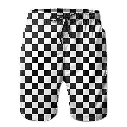 Rvca Black Jeans (Jiger Feimao Black and White Checkered Men's Quick Dry Board Shorts Swim TrunksXL)