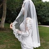 Ivory Weiß Brautschleier Schleier Brautkleid Spitze 1 Meter SCHLICHT ELEGANT 1 lagig Kamm