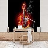Vliestapete–Gitarre in Flammen–Wandbild quadratisch