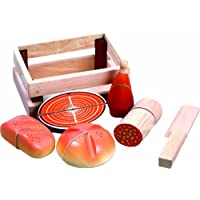 Santoys - Wooden Toys - Food & Shop Role Play - Cut-through Bread and Meats