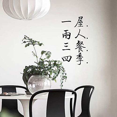 Wandbild ZOZOSO Geschnitzte Kalligraphie Ein Haus Zwei Personen Drei Mahlzeiten Vier Jahreszeiten Chinesischen Wind Wandaufkleber Schlafzimmer Restaurant Schlafsaal Hintergrund Aufkleber -