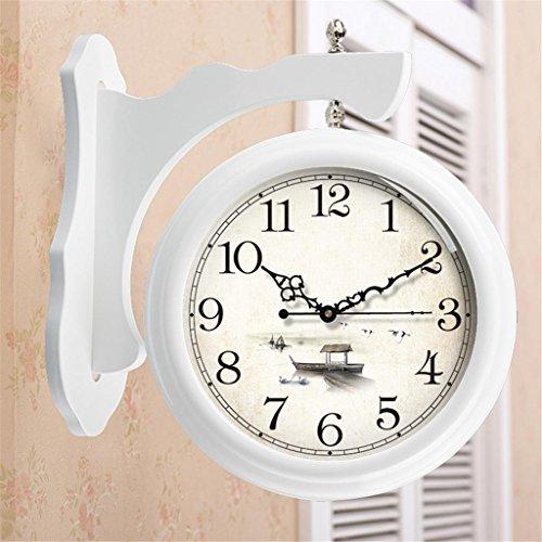 Wall Clock Sided Double (Massivholz große doppelseitige Uhr Wohnzimmer europäischen Retro Stumm Quartz Wanduhr auf beiden Seiten , 007 , 20 inch)