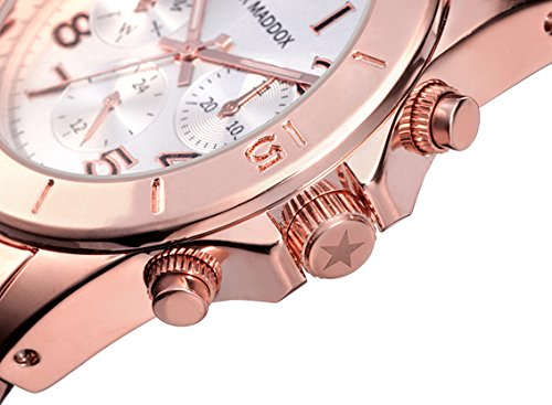 Mark Maddox Women's Quartz Watch with Silver Dial Analogue Display and Rose Gold Bracelet MM3006-05
