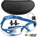 Blau Schwimmbrille mit Clip System   Taucherbrille für Erwachsene   Mit Antifog Beschichtung ( Antibeschlag ) UV Schutz   Für Damen & Herren   Inklusive Gratis Hardcase Ohrstöpsel und Nasenklammer