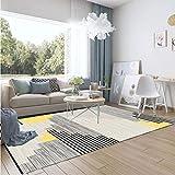 LZHDAR Rechteckiger einfacher Wohnzimmerrug, Polyester strapazierfähiger Teppich robuster, schmutzfester Schlafzimmer-und Zimmer-Küchen-Saal,WhiteB,80 * 160cm