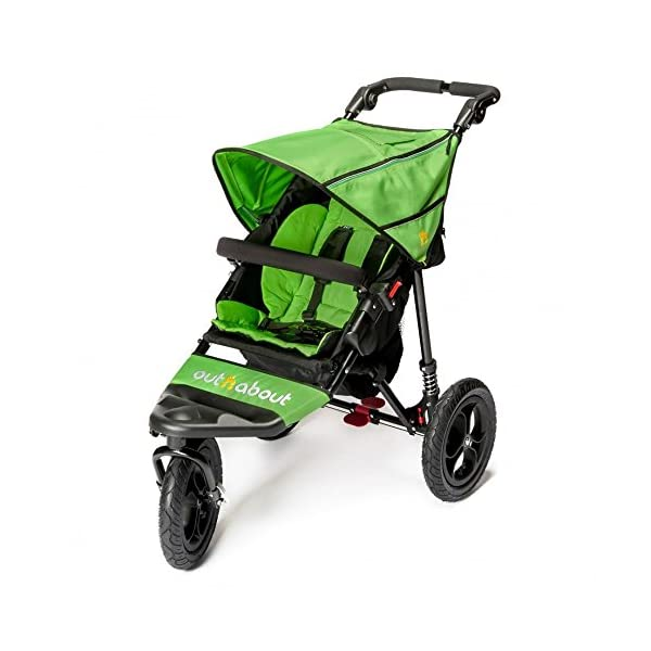 Out n About Nipper Single v4 Stroller Mojito Green Out 'n' About LATEST V4 MODEL WITH AUTO-LOCK FOLD! All-terrain 3-Wheeler pushchair, suitable for use from Birth to 4 years (approx) Multi-position adjustable backrest, including lie flat with 5-Point Safety Harness Height adjustable handles & removable, hinged bumper bar 1