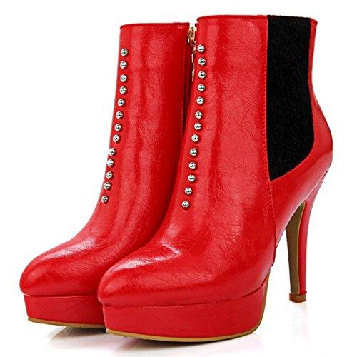 TAOFFEN Damen Knöchelriemchen Reißverschluss Spitze Toe Plateau Stiefel Stilett Mode Elegant Schuhe Rot