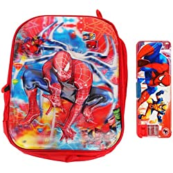 3D Spiderman Small School Bag With Pencil Box