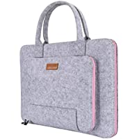 """Ropch 15.6"""" Felt Laptop Sleeve with Handle Portable Notebook Computer Carrying Case Bag Pouch for 15 15.6 Inch Asus / Acer / Dell / HP / Lenovo / Toshiba, Grey & Pink"""