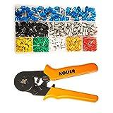 KOLIER Aderendhülsenzange, Crimpzangen Aderendhülsen Set mit 800 stück Kabelschuhe Tool Kit, 0.25-6mm² Crimpwerkzeuge für Isolierte Unisolierte