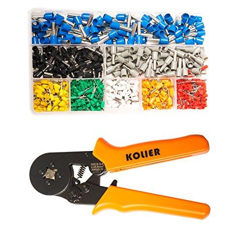 5-tool-kit (KOLIER Aderendhülsenzange, Crimpzangen Aderendhülsen Set mit 800 stück Kabelschuhe Tool Kit, 0.25-6mm² Crimpwerkzeuge für Isolierte Unisolierte)