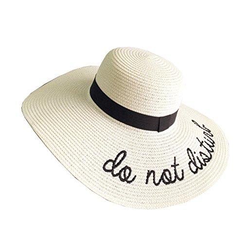 Cappello Da Sole Da Donna Cappello Da Spiaggia In Paglia Ampio Bordo Panama Sombrero Per Le Vacanze Bianco
