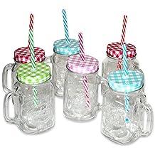 """Conjunto de 6 Vasos de vidrio con asa """"Vintage Style"""""""