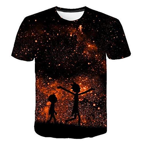 Herren Neuheit T-Shirt 2019 Sommer Casual Kurzarm 3D Digital Gedruckt T Shirt Tops Premium,Mode 3D Print Schwarz S -