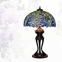 Lámpara de Tiffany estilo/Continental de lámpara de mesa creativos vintage/Lámpara de noche dormitorio Living comedor/ Lámpara de vidrio decorativo de Wisteria-E