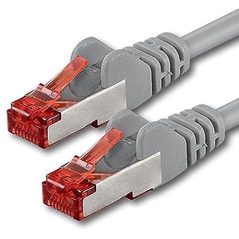 1aTTack.de - 20m - grau - 1 Stück - Cat6 Cat.6 Netzwerkkabel Patchkabel Ethernetkabel Set Sftp 1000 Mbit/s kompatibel mit cat.5 cat.5e cat.6a cat.7