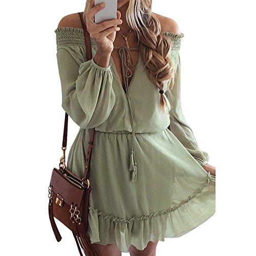 YvelandsKleid Damen Elegant Boho Abendkleid Sommerkleid Strandkleid Vintage Partykleid A-Line Cocktailkleid Schulterfrei Kleid Volant Kleid Rosa (M, Grün)