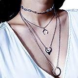 LCLrute Dame Retro-Muster einfache Element Halskette Schmuck Sets Edelstahl Doppelschicht Kette Halskette Ohrringe Set (Silber)