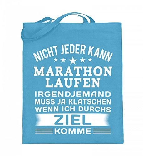 Hochwertiger Jutebeutel (mit langen Henkeln) - Marathon Laufshirt Damen Hellblau