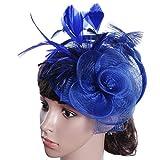 JYJMMode Frauen Fascinator Penny Maschendraht Bänder und Federn Hochzeit Party Hut Bow Mesh Braut Kopfschmuck Hanf Hut Ornament Geschenk für die Braut (Größe: 20 * 18 * 10cm, BlauA)