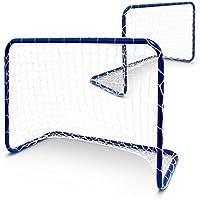 Relaxdays Fußballtor Kinder 2er Set, HxBxT: 57 x 78 x 46 cm, Tornetz, Mini-Fußballtore Garten, Minitor Set Metall, blau